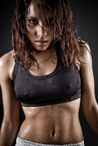 sweating woman high res