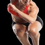 woman jump black bg